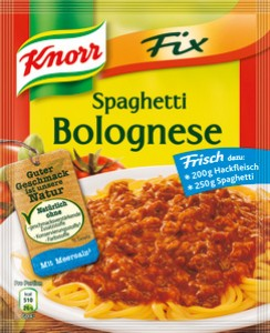 knorr fix spaghetti bolognese kalorien kohlenhydrate. Black Bedroom Furniture Sets. Home Design Ideas