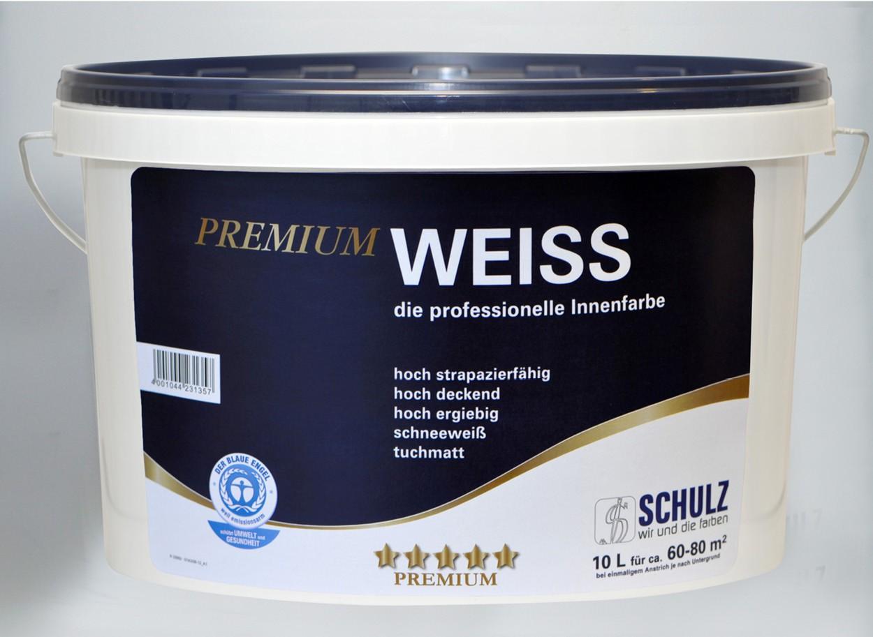 premium weiss 10 liter schulz gmbh farben und lackfabrik wand deckenfarben grundierungen. Black Bedroom Furniture Sets. Home Design Ideas