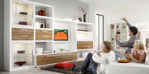 como wohnwand nr 1 in wei olive hochglanz inkl licht alles rund ums wohnzimmer. Black Bedroom Furniture Sets. Home Design Ideas