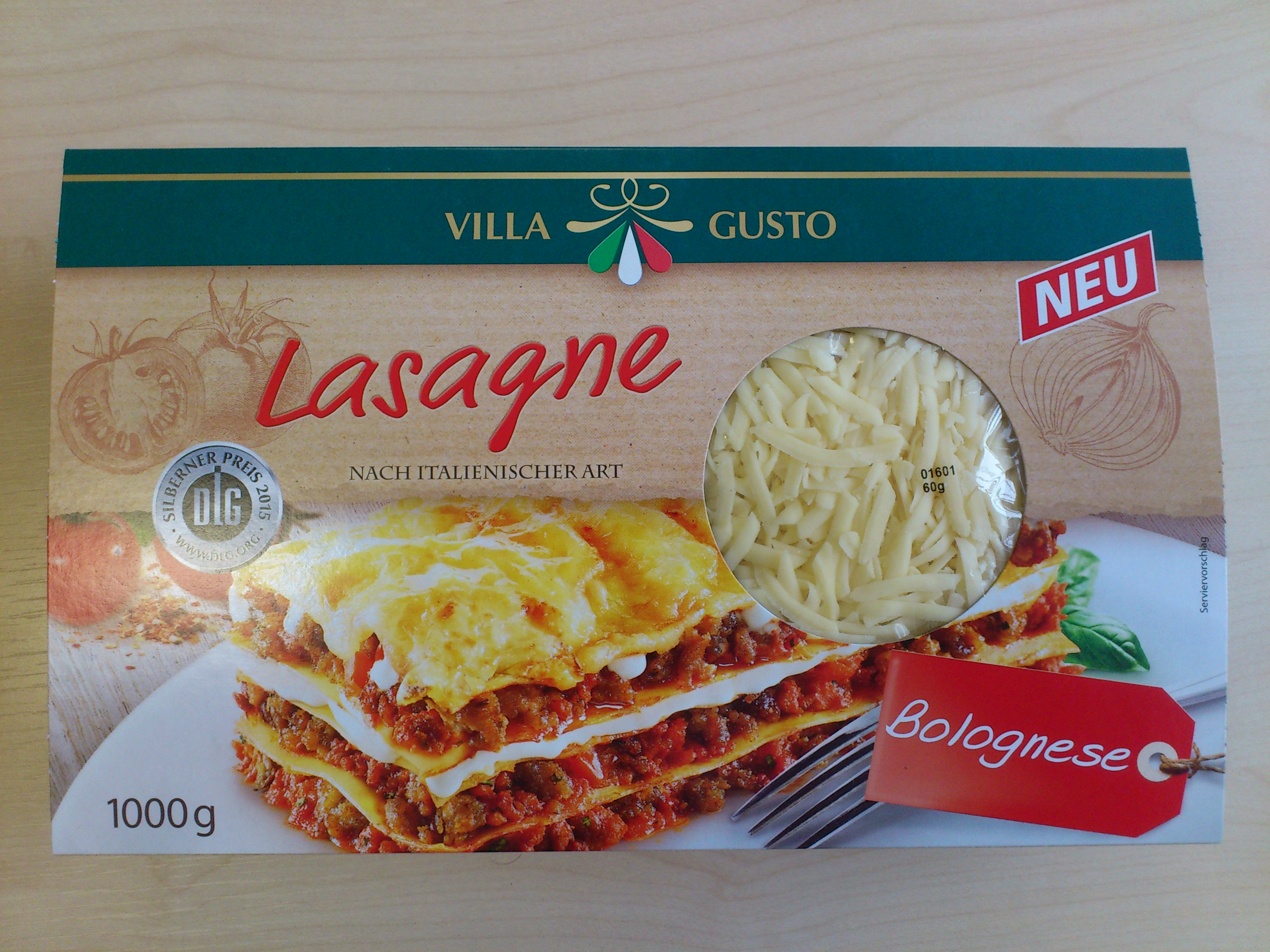 villa gusto lasagne bolognese 1000g premium 1000 gramm. Black Bedroom Furniture Sets. Home Design Ideas