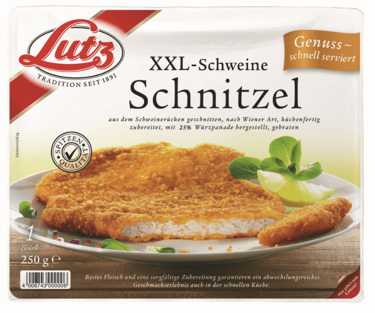 xxl schweine schnitzel 250 gramm lutz fleischwaren gmbh. Black Bedroom Furniture Sets. Home Design Ideas