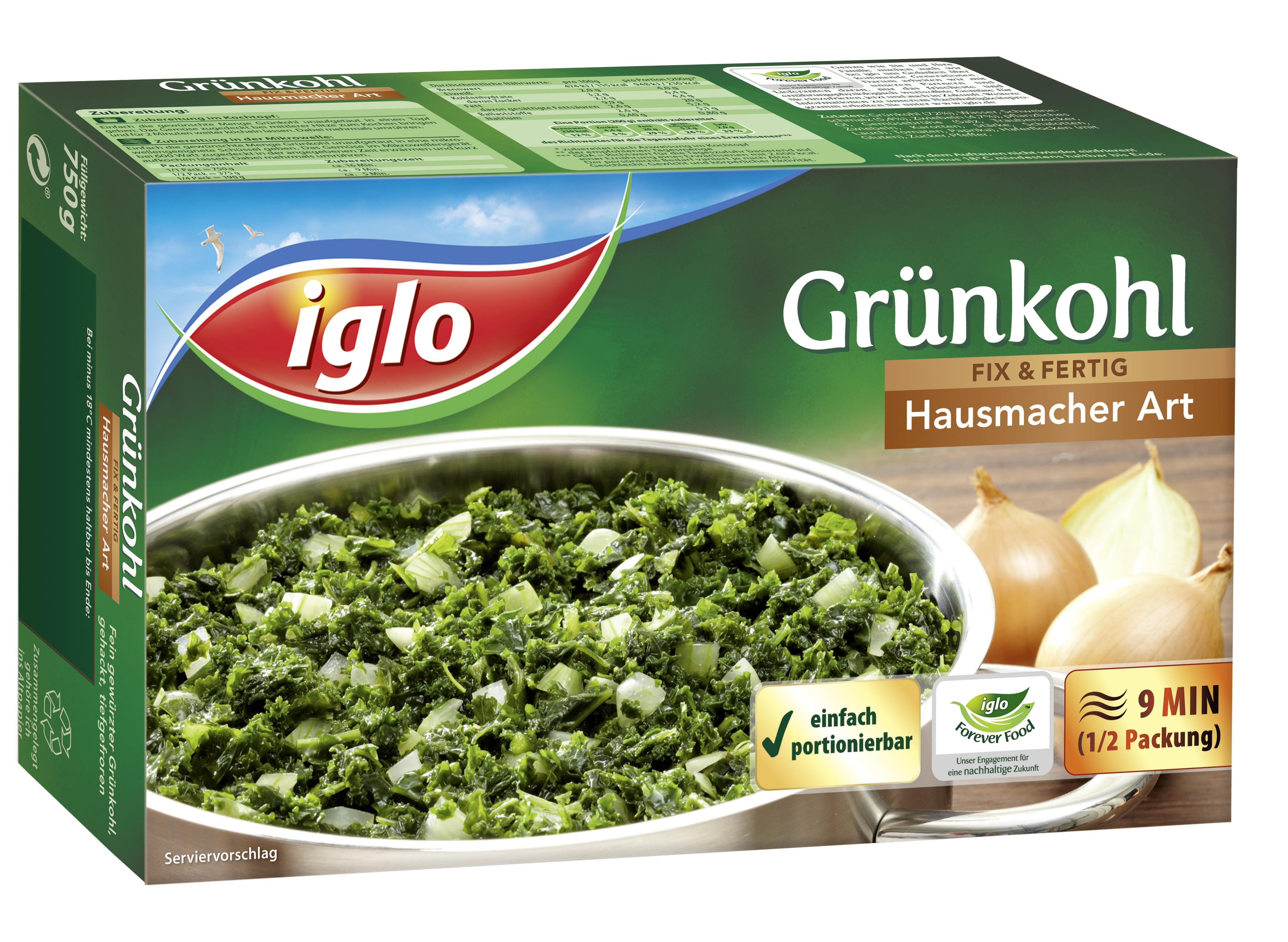 Grünkohl fix& fertig Hausmacher Art (750 Gramm) Iglo GmbH Salate und Gerichte auf Teigbasis