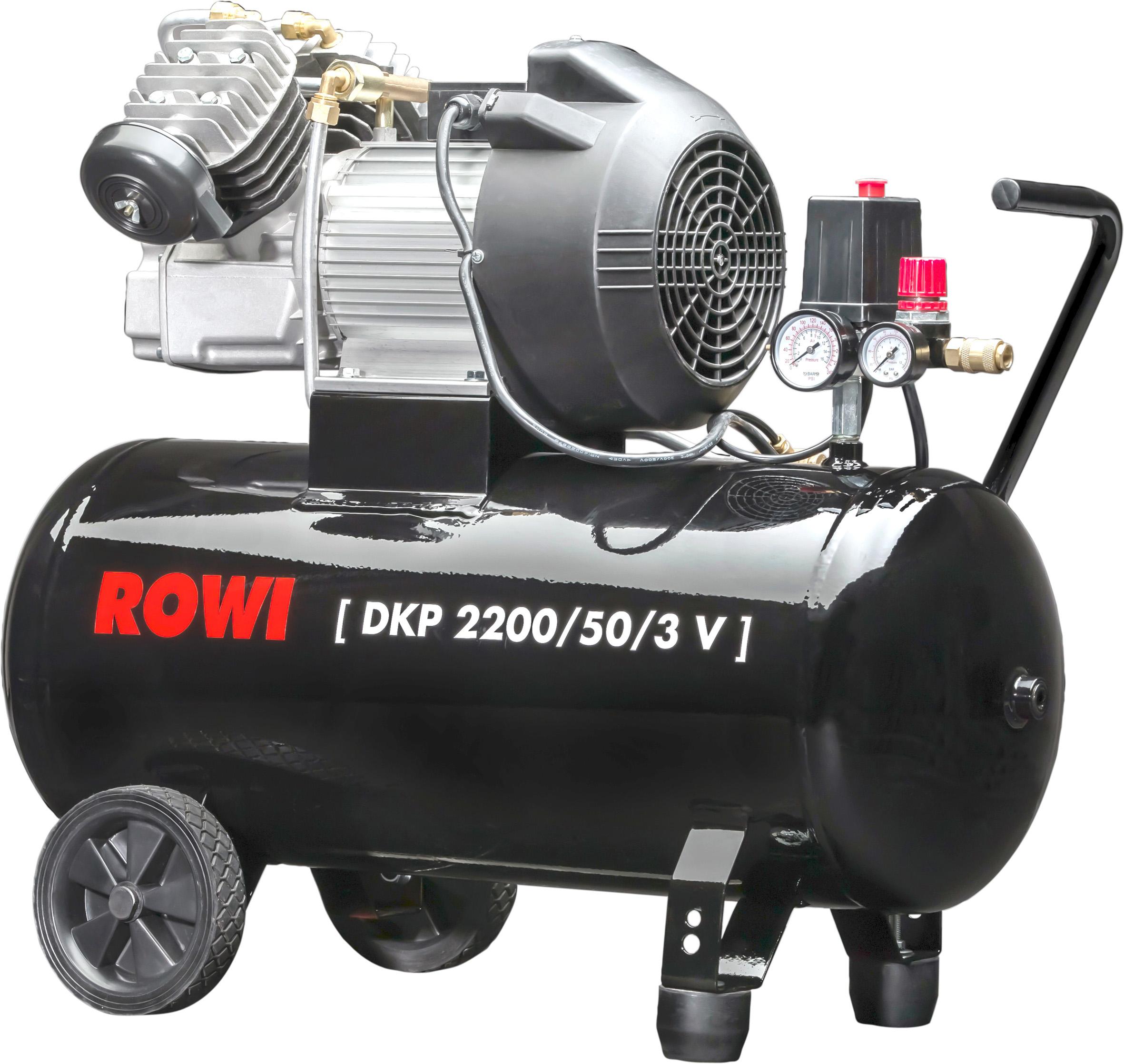 kompressor 2 2 kw v zylinder 50 liter beh lter 10 bar rowi schwei ger te und elektrowerkzeuge. Black Bedroom Furniture Sets. Home Design Ideas