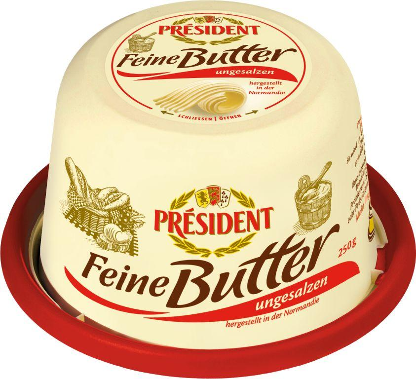 pr sident feine butter ungesalzen 250 gramm lactalis deutschland gmbh butter butterersatz. Black Bedroom Furniture Sets. Home Design Ideas